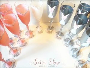 Bride, bridesmaid, groom and groomsmen champagne flutes