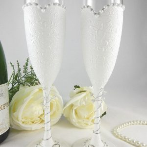 Bride & Bride champagne flutes for a same sex wedding gift with option to be personalised with names and date on the bases.