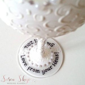 Personalised bride to be wine glass gift for hen party.