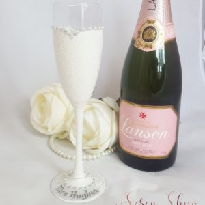 Personalised bride champagne flute gift for the bride to be from her hens.