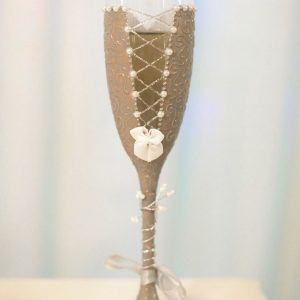 Stone coloured bridesmaid thank you gift champagne flute personalised with name.
