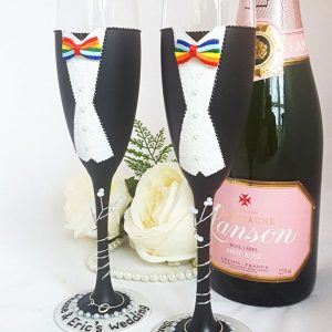 Groom and groom champagne glasses for a same sex wedding personalised gift with names.