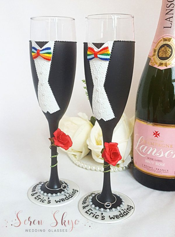 Hand painted Mr & Mr same sex wedding champagne flutes gift with rainbow tie.