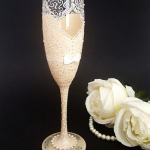 Bride to be champagne flute hand painted with lace and keyhole back.