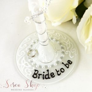 Bride to be wine glass base with personalisation on the base.