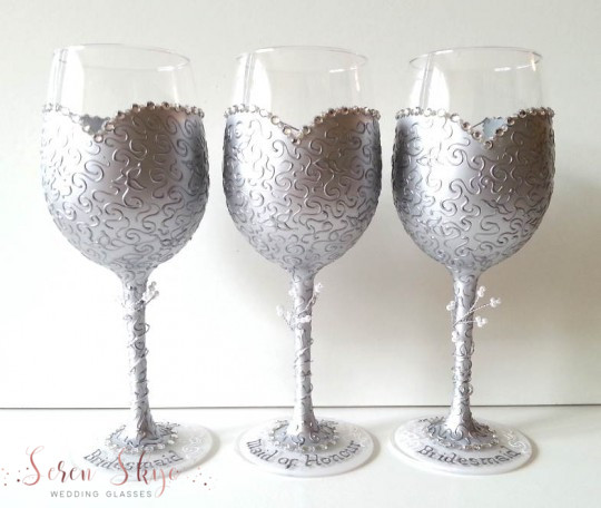 Silver bridesmaids wine glasses personalised with names