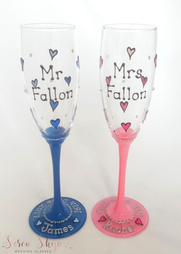 Personalised champagne flutes wedding gift with blue and pink hearts