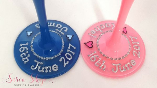 Blue and pink wedding champagne flutes bases with names and wedding date
