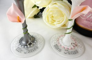 Personalised wedding wine glasses bases with names