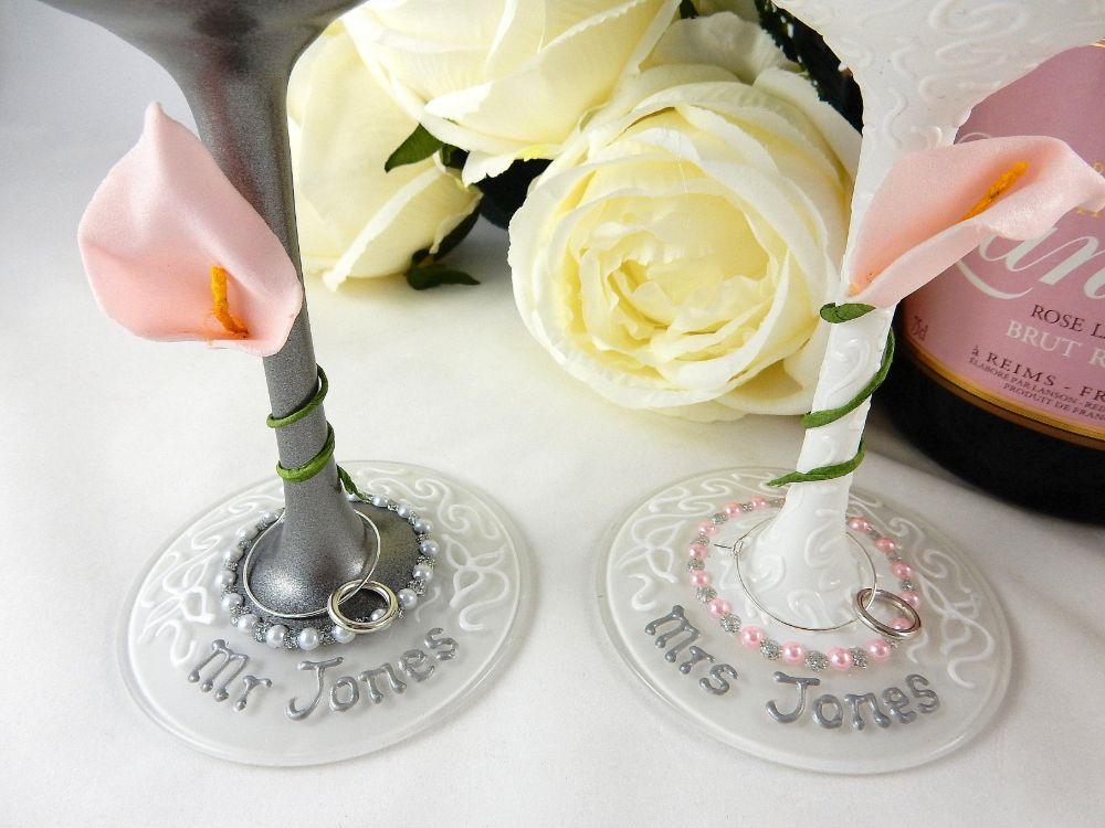 Hand painted personalised wedding glasses