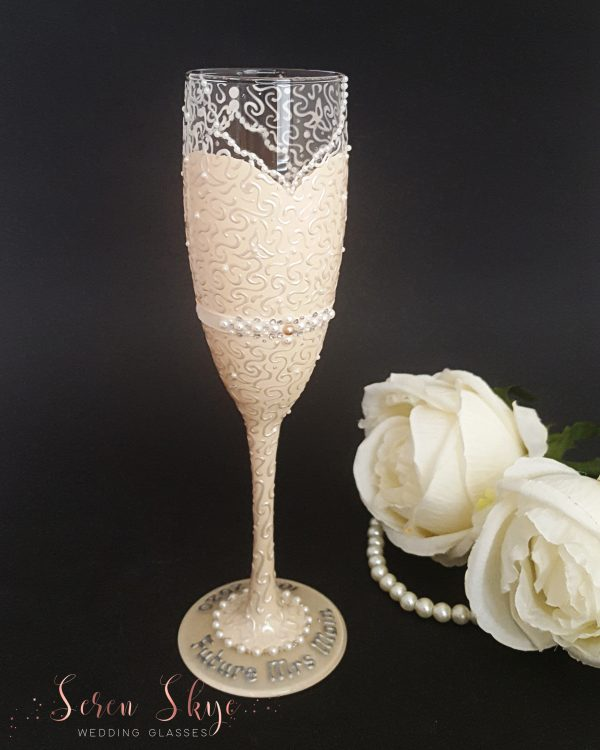 Hand painted and personalised bride to be champagne flute gift