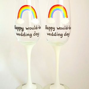 hand painted rainbow champagne flutes for postponed wedding