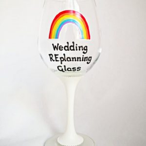 Wedding replanning wine glass postponed wedding gift