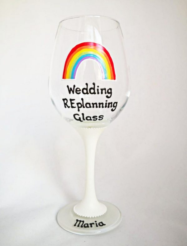 Wedding replanning wine glass postponed wedding gift
