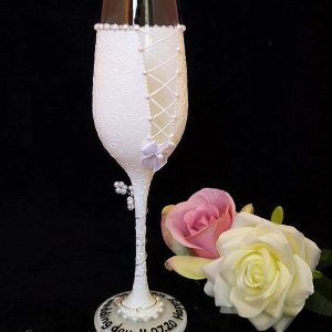 The back of a bride champagne flute